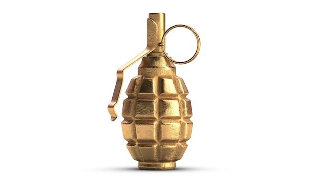 D иллюстрация золотой осколочной гранаты f, изолированной на белом фоне