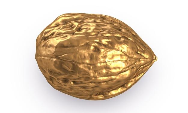 D иллюстрация золотого ореха, изолированные на белом фоне