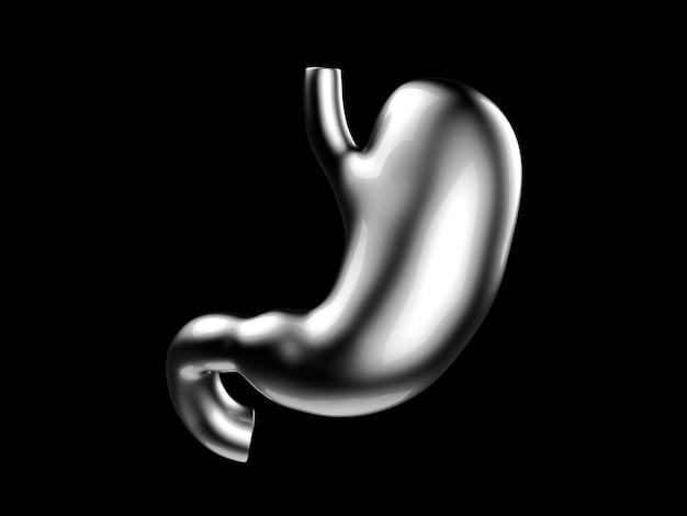 D иллюстрация человеческого желудка из металла