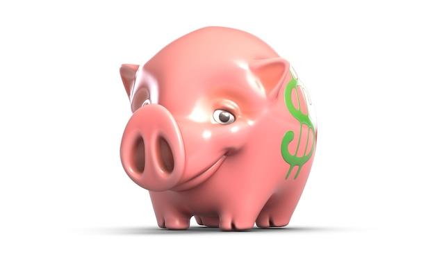 白い背景で隔離のピンクの貯金箱のdイラスト