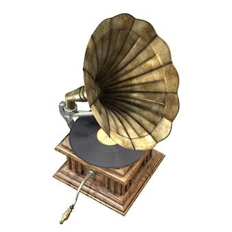 白い背景で隔離のヴィンテージと古典的な蓄音機のdイラスト