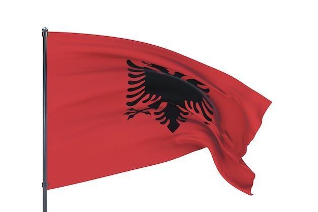 흰색 배경에 고립 된 알바니아의 세계 국기의 깃발을 흔들며 d 그림
