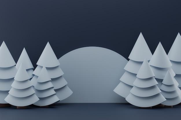 D иллюстрация с зелеными елками на синем фоне зимнее украшение