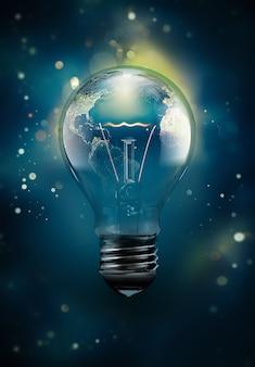 Лампочка d с планетой внутри карты наса была использована для создания концептуального изображения энергии.