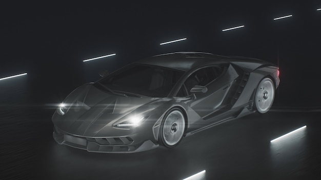 D는 네온 불빛이 있는 도로에서 스포츠카가 속도로 운전하는 것을 렌더링합니다.