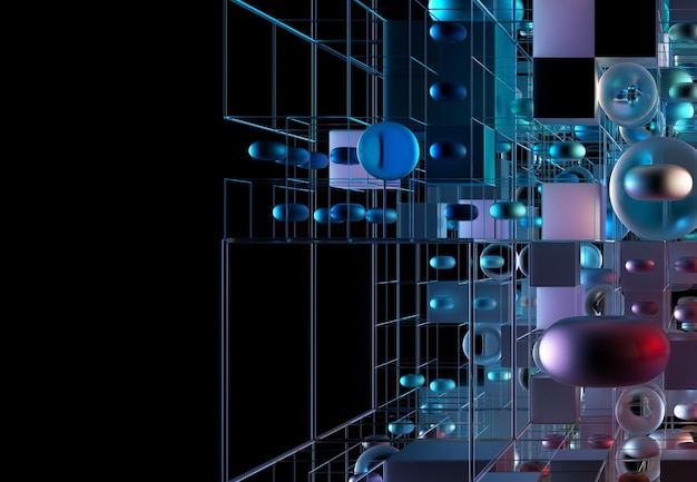 D render of abstract art d background with part of magic puzzle game cube or box based on small and big geometry figures as cube in wire structure sphere or ball torus in blue color gradient