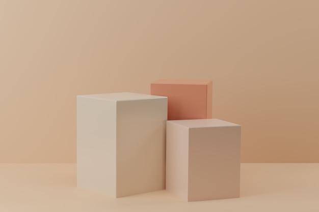 D render cube shape geometric podium on beige background realistic pedestal d illustration