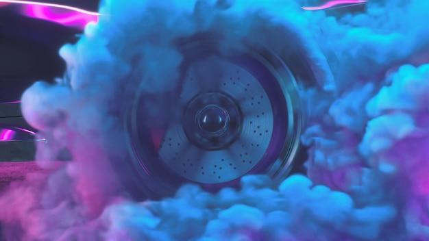 Dはネオンスモークカーでドリフトホイールをレンダリングします