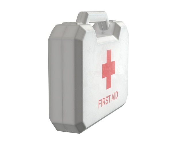 D render of first aid kit isolated on white
