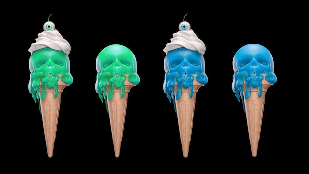 D는 검정색 배경에 두개골 형태로 녹는 녹색과 파란색 아이스크림을 렌더링합니다.
