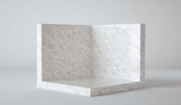 D визуализирует роскошный мраморный стол в студии, текстурированный для отображения продукта с копией пространства