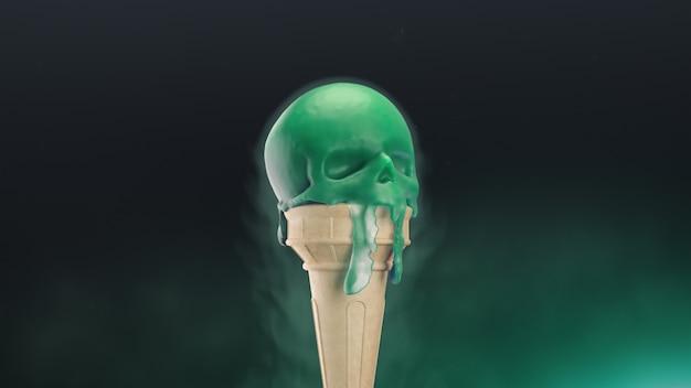 D는 두개골의 형태로 녹는 아이스크림을 렌더링합니다.
