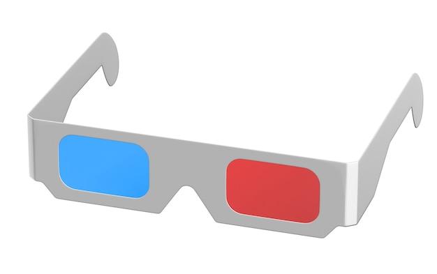 흰색 절연 입체 안경의 d 렌더링