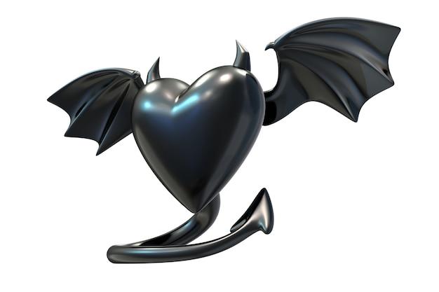 D визуализация формы черного латексного сердца с крыльями дьявола