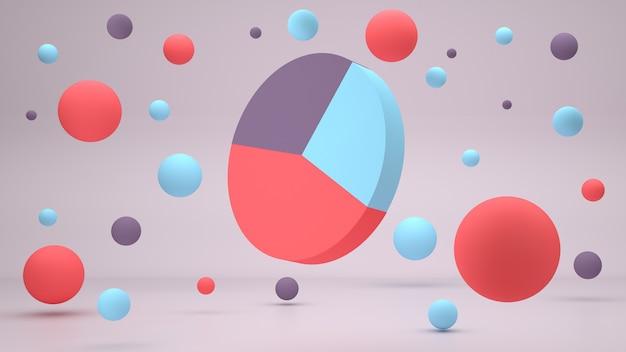 D визуализация красочной бизнес-схемы на розовом фоне