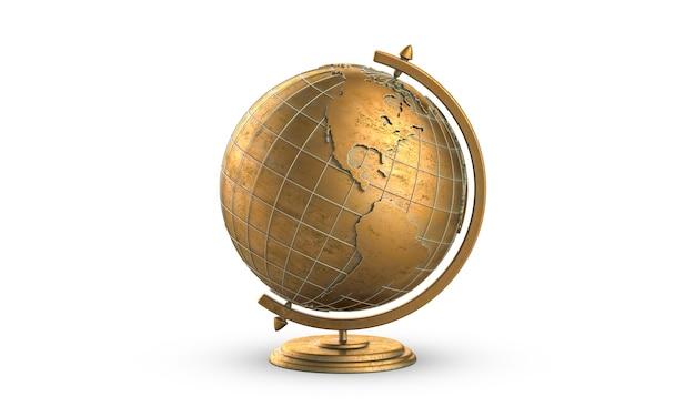 D визуализация стороны золотой глобус америки, изолированные на белом фоне