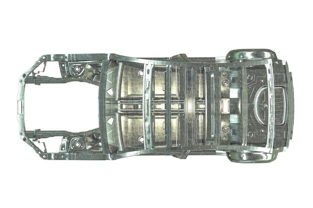 白で隔離された金属製の車体フレームのdレンダリング