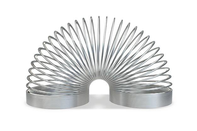 D рендер металлической игрушечной спиральной пружины