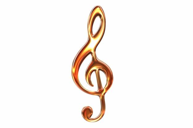 D визуализация символа скрипичный ключ музыки розового стекла, изолированные на белом
