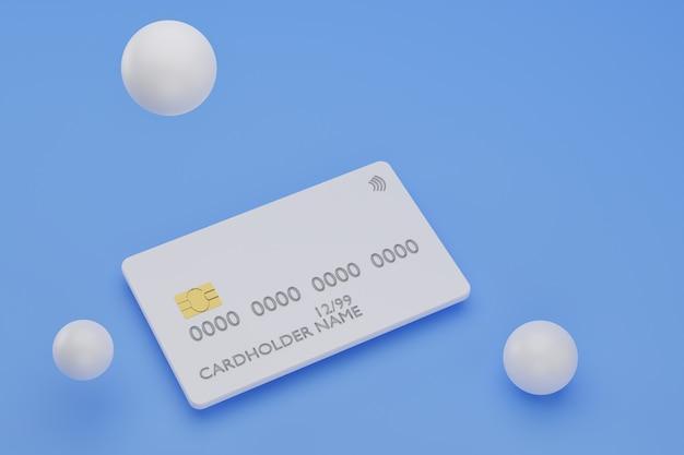 파란색 배경에 현실적인 신용 카드의 d 렌더링