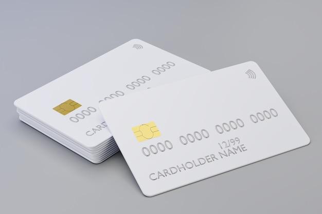 회색 배경에 현실적인 신용 카드의 d 렌더링
