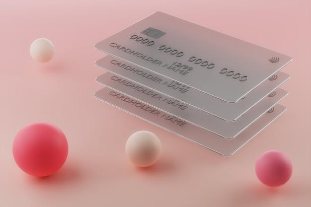 분홍색 배경에 투명 유리 신용 카드의 d 렌더링