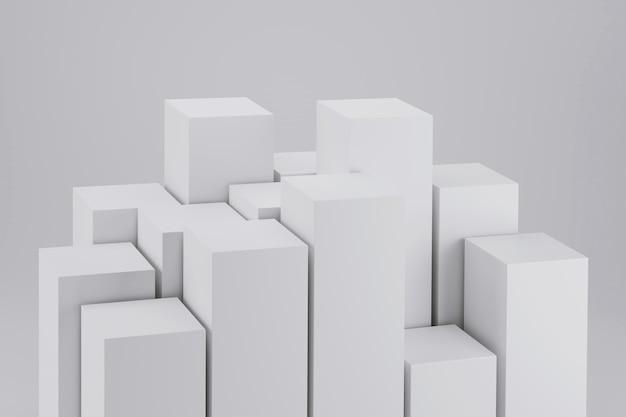 흰색 기하학적 큐브 추상적인 배경의 d 렌더링
