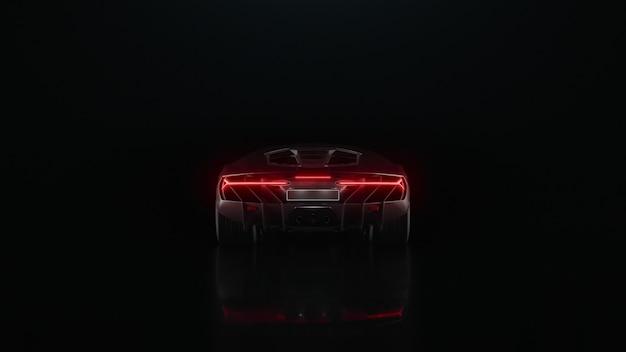 Dレンダリングスポーツカーは黒い背景で遠くにドライブします
