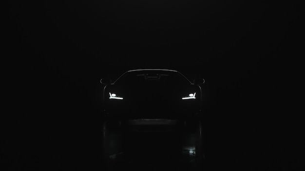 D render sports car with lights goes to the camera on a black background
