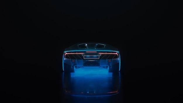 ネオンライト付きのdレンダリングスポーツカーが黒い背景で遠くにドライブオフ