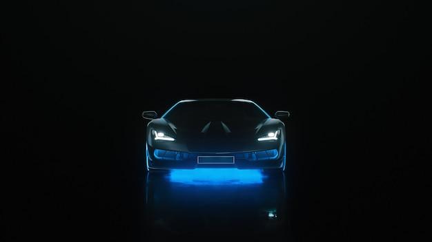 ネオンライト付きのdレンダリングスポーツカーは、黒い背景のカメラに行きます