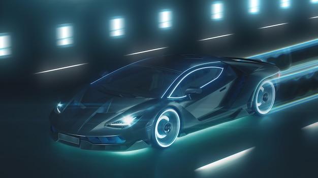 D 렌더 스포츠 사이버 네온 자동차는 네온 불빛으로 야간 도로에서 돌진합니다.