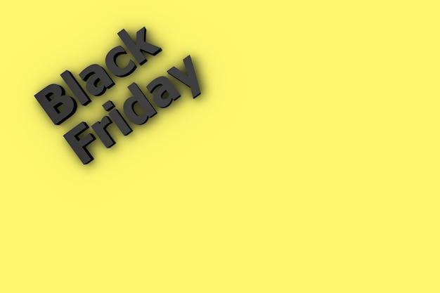 Dは、ブラックフライデーのオファーのコピースペースで黄色の背景をレンダリングします