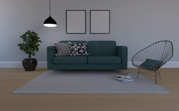 D rendered of interior of modern living room with sofa - couch and table