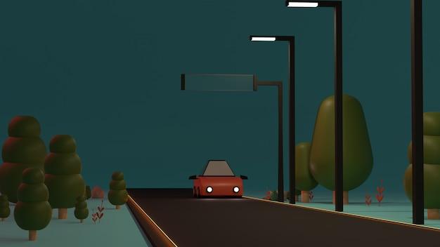 D визуализированный пейзаж с поездкой на автомобиле по дороге
