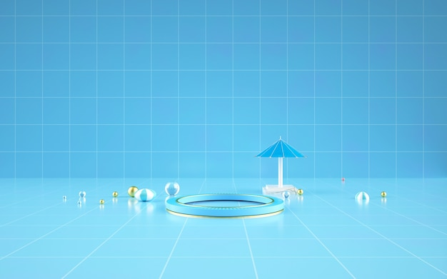 D rendering of abstract geometric background with a blue round podium for a product display