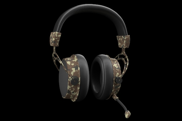 D rendering of gaming headphones with microphone for cloud gaming and streaming