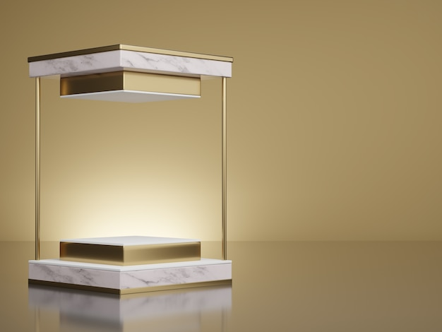 D rendering mockup of white marble and gold square pedestal steps on light yellow gold background