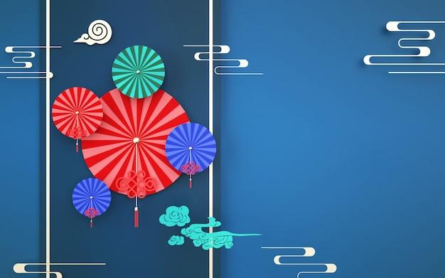 D中国風の装飾が施された抽象的な背景のレンダリング