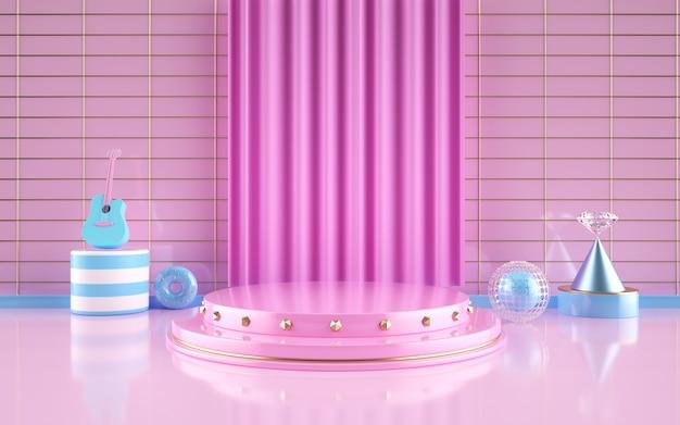 D 제품 디스플레이를위한 보라색 커튼이있는 추상적 인 기하학적 배경 렌더링