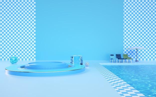 夏の表彰台と抽象的な幾何学的背景のdレンダリング