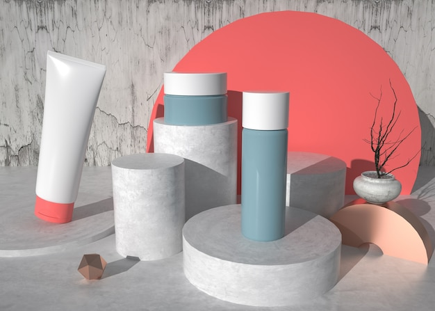 D 미용 화장품 제품으로 추상적 인 기하학적 모양 배경 렌더링