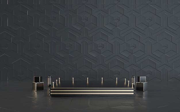 製品ディスプレイ用の表彰台と黒の抽象的な幾何学的背景のdレンダリング