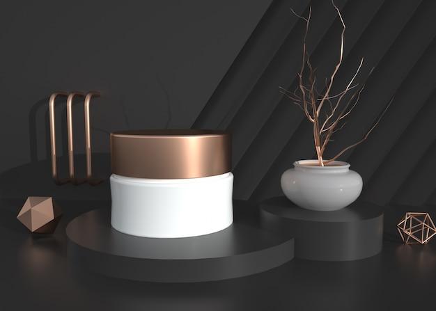 D 디스플레이 모형을위한 검은 기하학적 배경의 화장품 렌더링