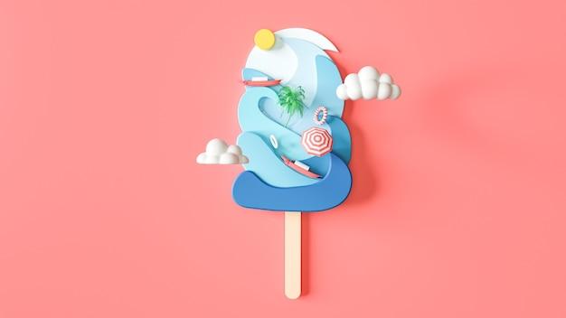 D 여름에 아이스크림 배경 렌더링