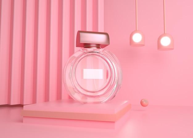 D 디스플레이 모형에 대한 기하학적 모양 배경을 가진 투명한 향수병의 렌더링