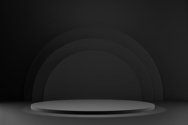 D рендеринг подиумов белого круга на темном фоне
