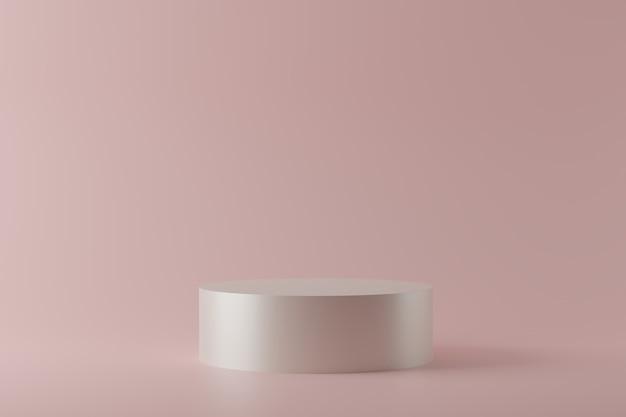 D рендеринг подиумов белого круга на пастельном фоне