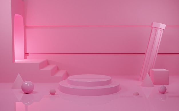 D rendering pink pastel podium scene for procuct presentation with light tunel