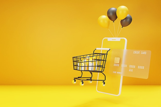 D shopping online concept with shopping cart,bag,balloon,credit card and mobile phone. 3d rendering.